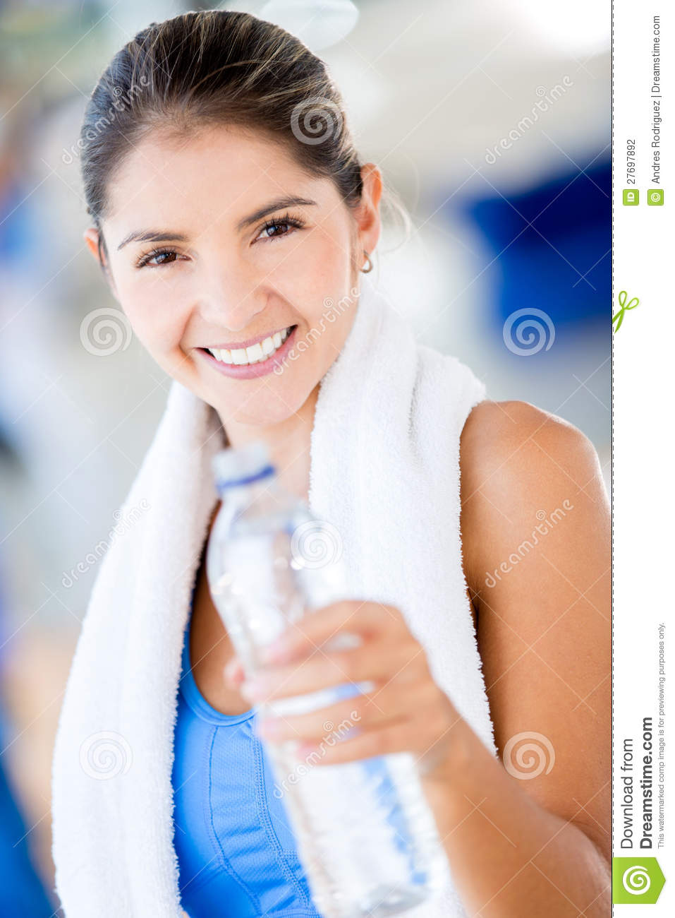 woman bottled water gym woman with a bottle of water stock