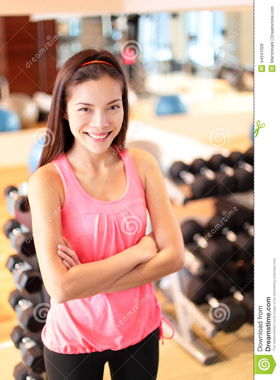 Gym Woman In Fitness Center Proud Portrait Stock Photo