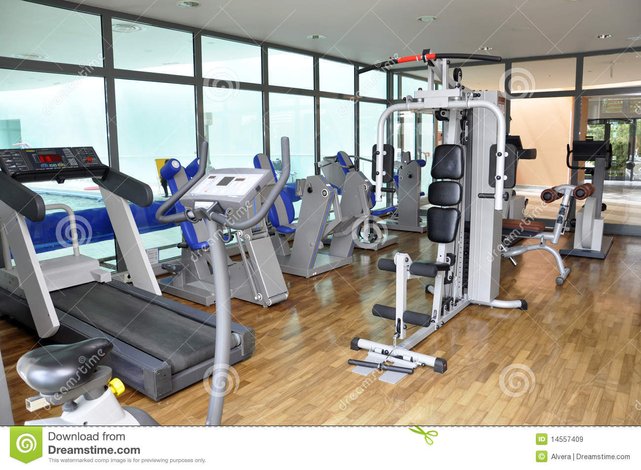Gym workout equipment stock image of bicycle diet
