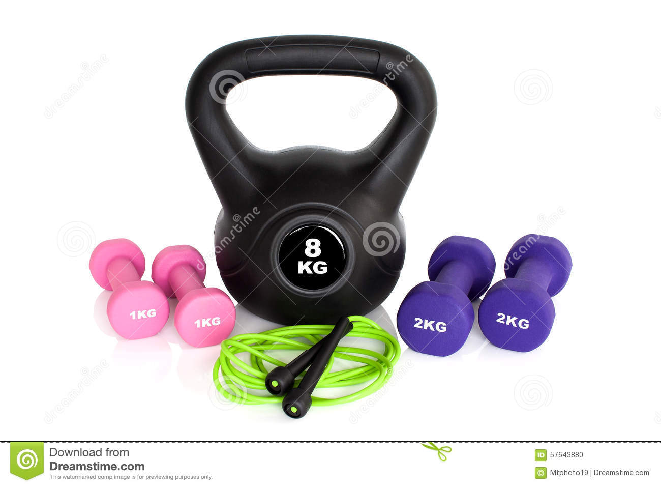 Green Skipping Rope For An Exercise, Isolated On White Royalty-Free Stock Photo ...