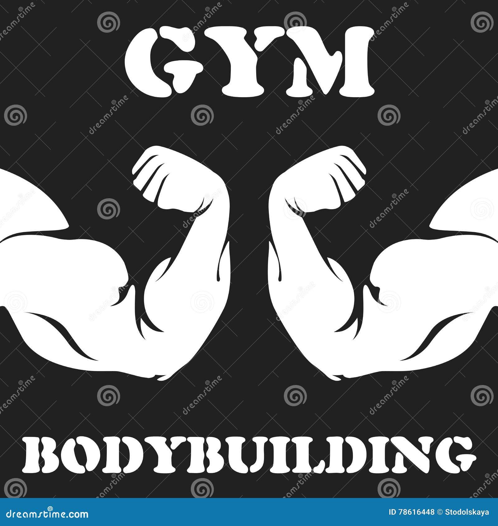 Gymnase et emblème de bodybuilding avec le biceps