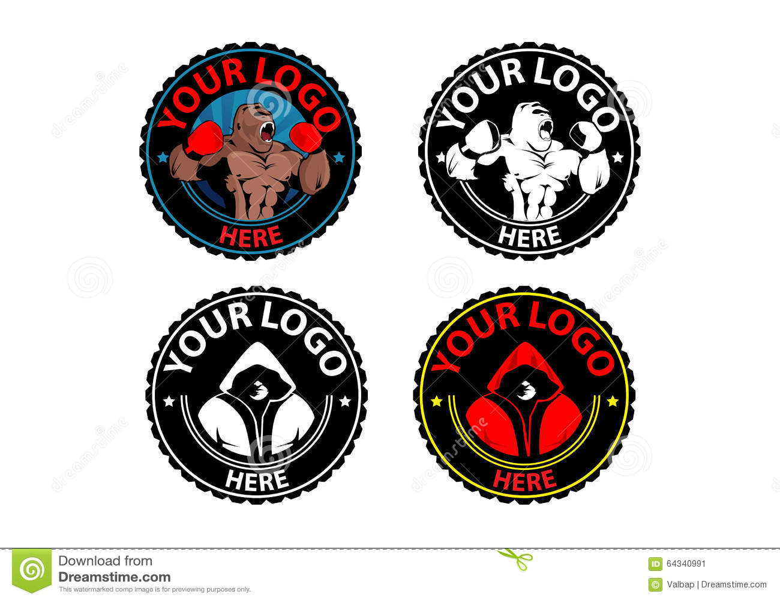 gymnase kickboxing de logo de gymnase de boxe de boxe de