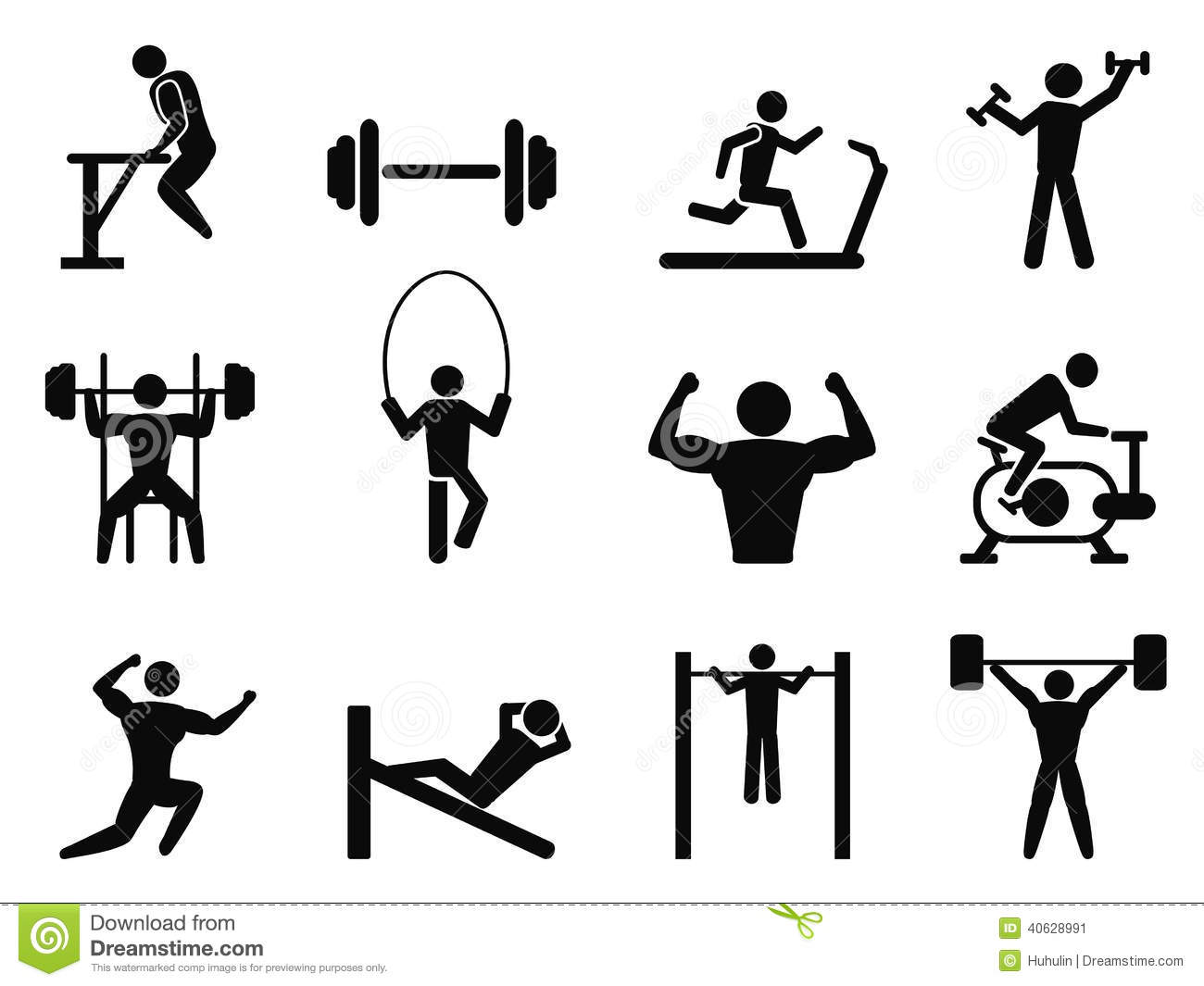 Isolated Gymnasium and Body Building icons from white background.