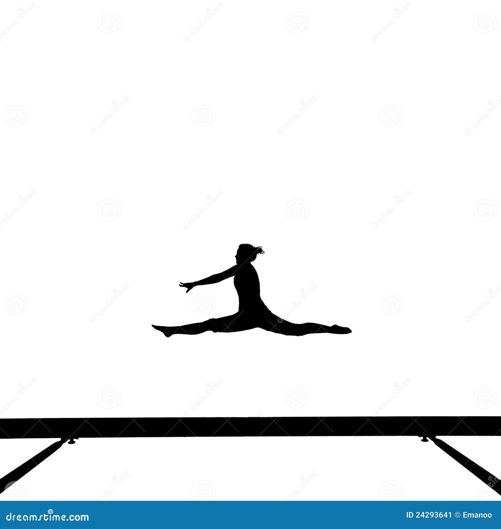 Gymnast On Balance Beam Stock Image Image Of Isolated