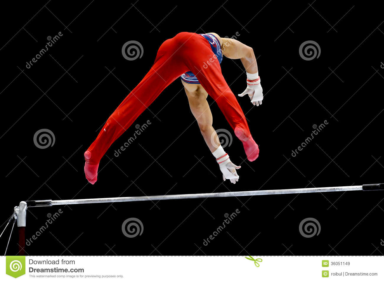 Gymnast on uneven bars stock image  Image of competitions