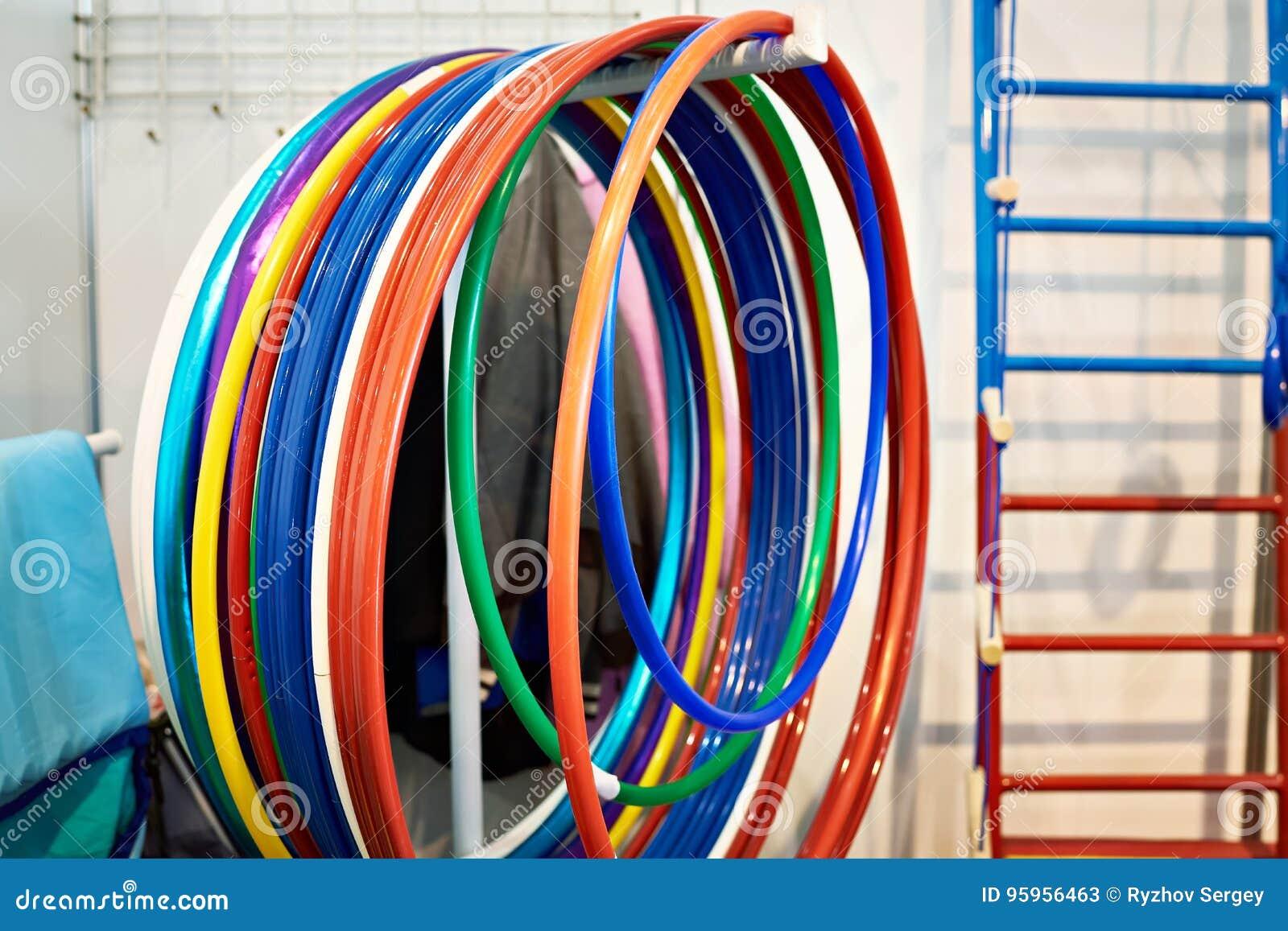 Gymnastic hoops in sport gym