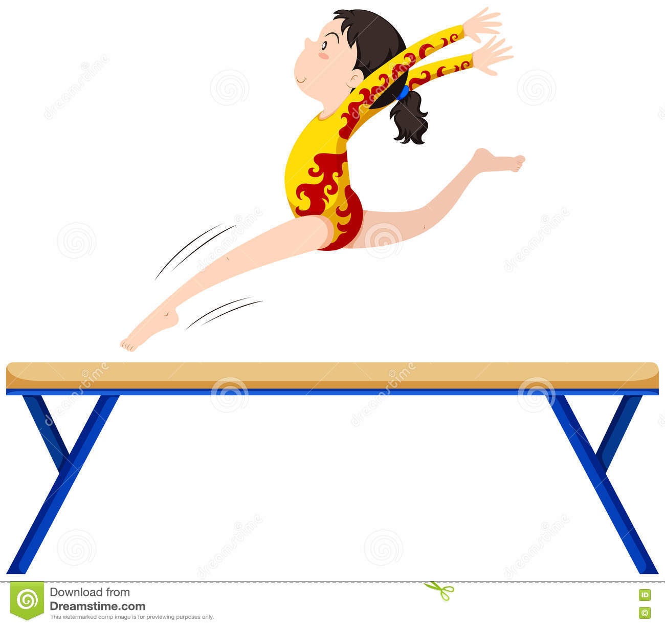 Gymnastics On Balance Beam Stock Vector Illustration Of