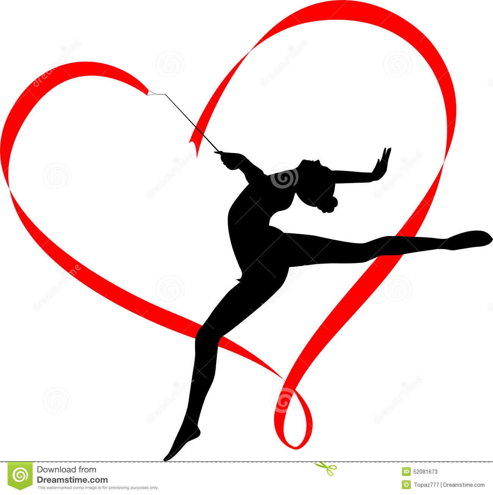 Gymnastics Logo Gymnast Athlete Athletics Vector Heart Ribbon Rhythm Illustrations Royalty Free