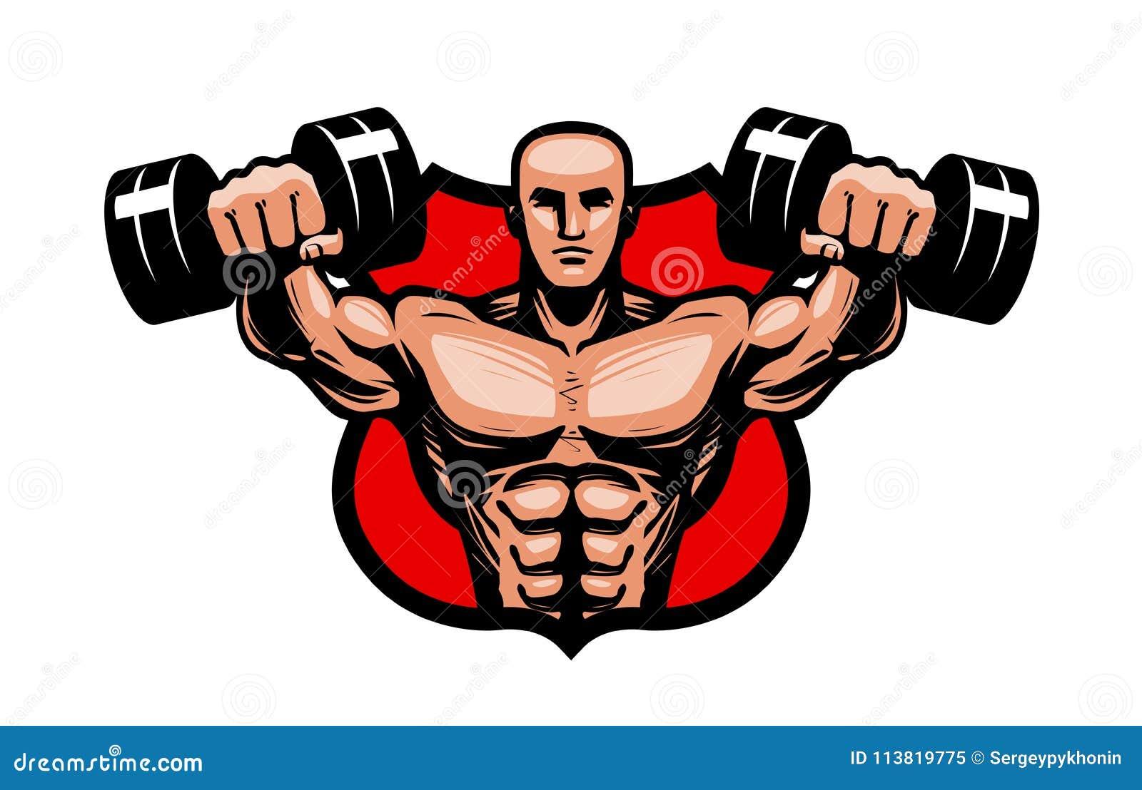 Gymnastiek, het bodybuilding, sportembleem of etiket De bodybuilder heft zware domorenhanden op Vector illustratie