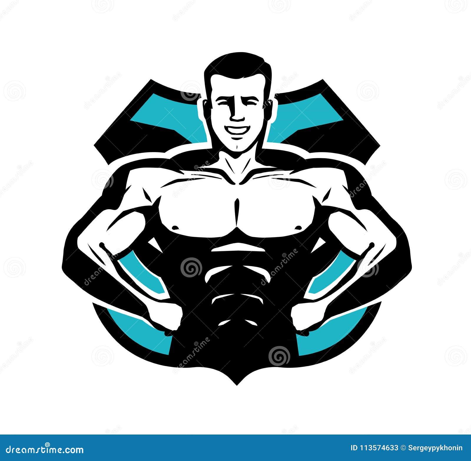 Gymnastiek, het bodybuilding, sportembleem of etiket Gelukkige bodybuilder met spierlichaam Vector illustratie