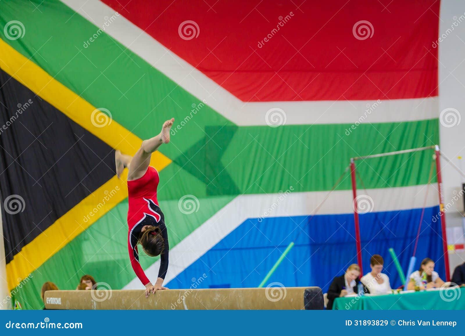Gymnast Girl Beam Handstand