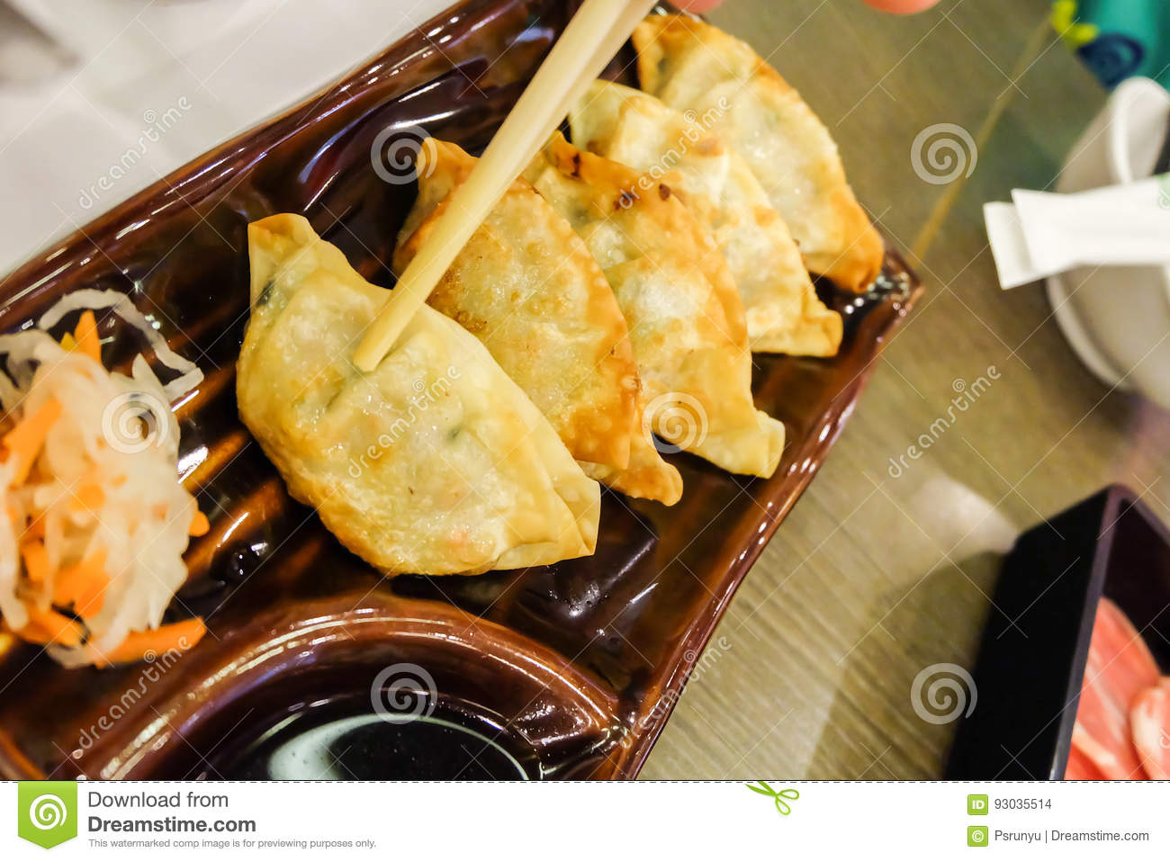Gyoza asian vegeterian potstickers with soy sauce