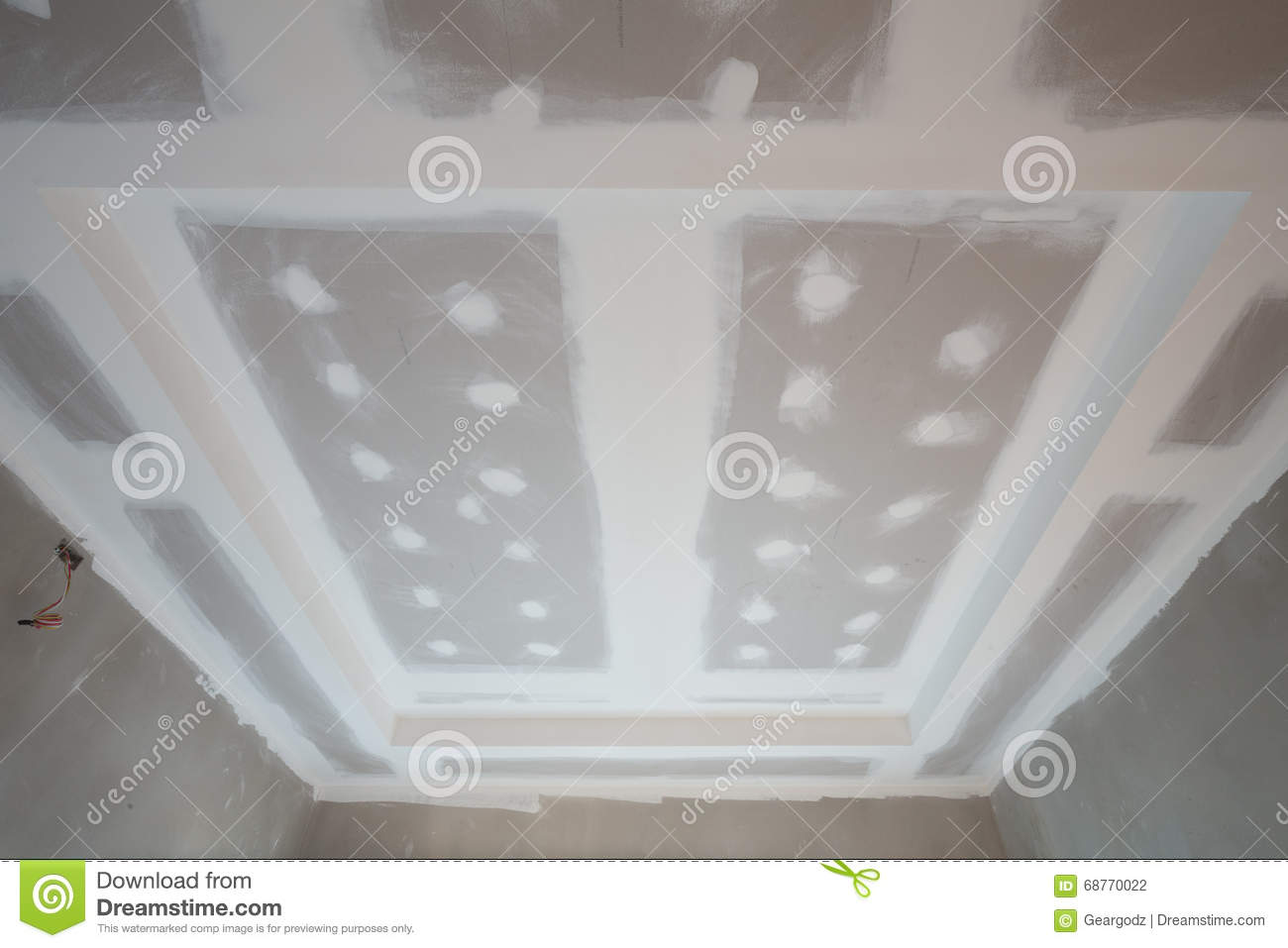 Gypsum board ceiling construction site Stock Photography - Gypsum Board Ceiling Construction Site Stock Photo - Image: 68769955