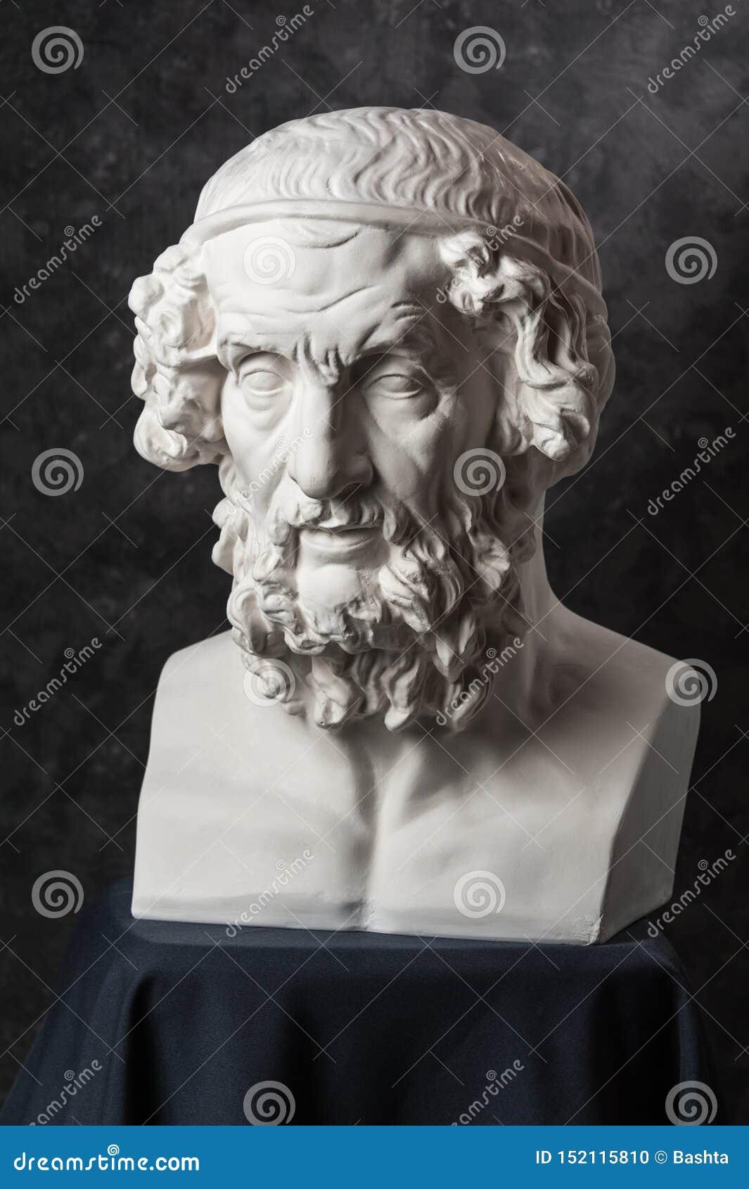 Gypsum Copy Of Ancient Statue Homer Head On Dark Textured Background