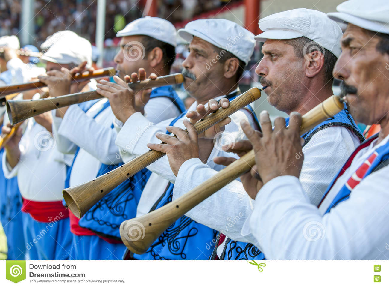 Gypsy flute players perform during competition at the Kirkpinar Turkish Oil Wrestling Festival in Edirne, Turkey.