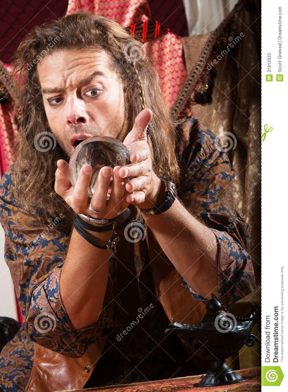 Gypsy Man With Crystal Ball Stock Image - Image of fortune ...