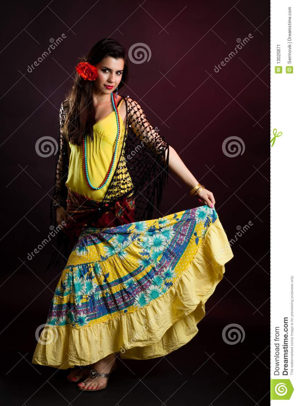 Gypsy woman dance stock image. Image of pretty, female ...
