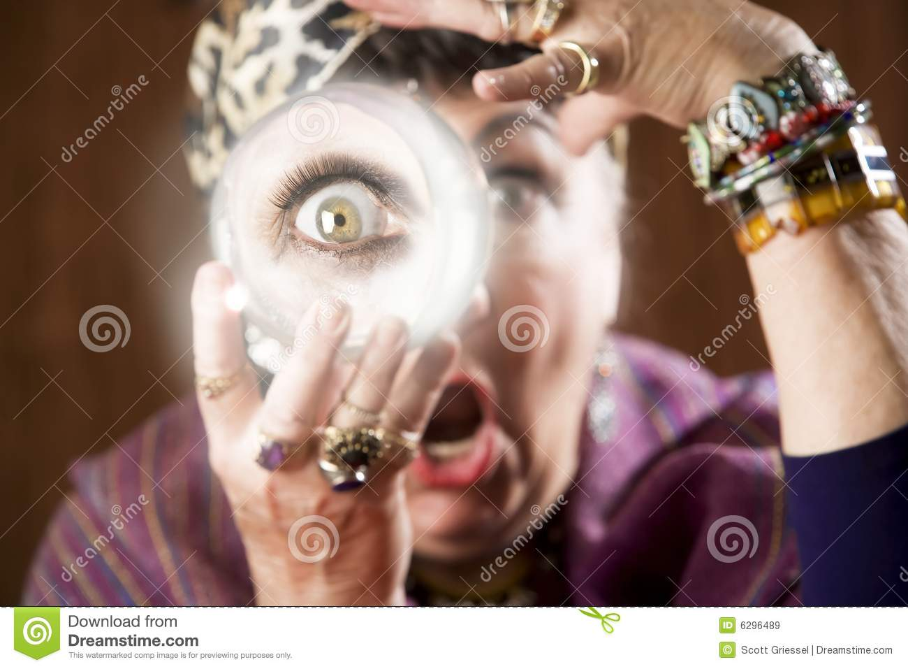 Download Gyspy with a crystal ball stock image. Image of clairvoyant - 6296489