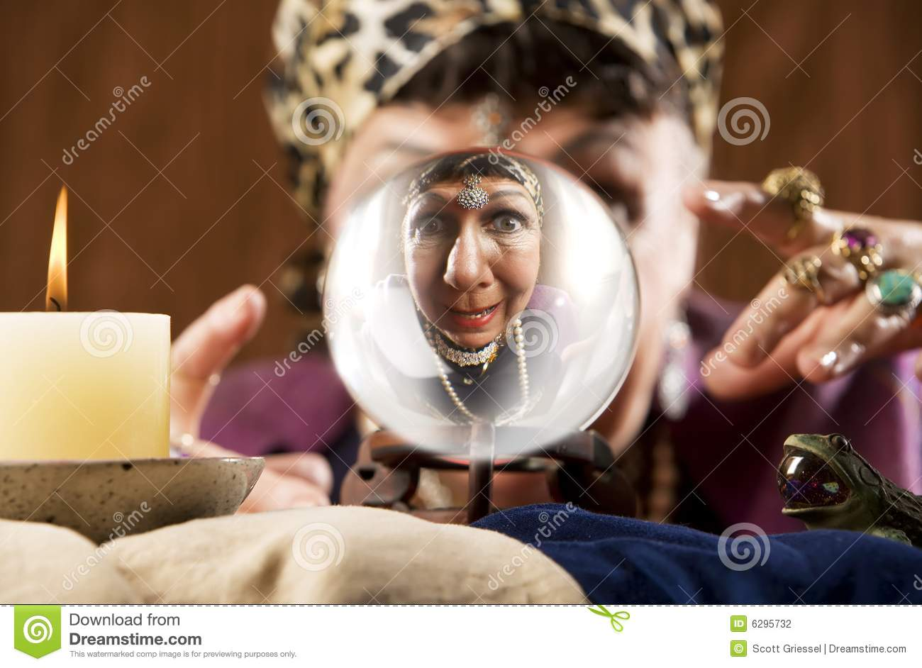 Gyspy Seen In A Crystal Ball Stock Photo - Image of character