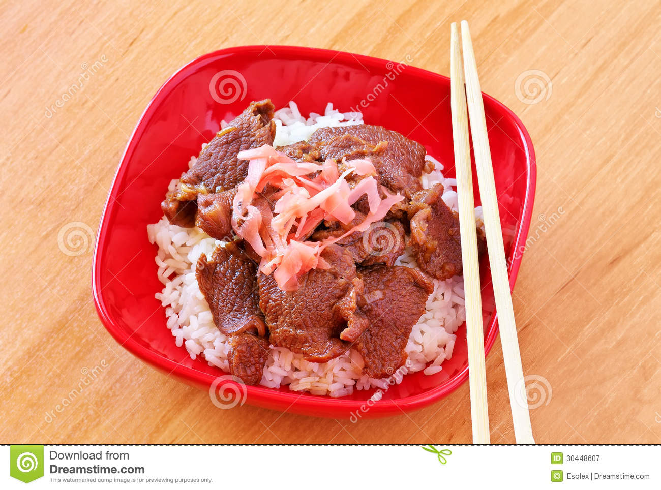 Gyudon. Beef Bowl. Japanese Dish. Rice with beef and onions.