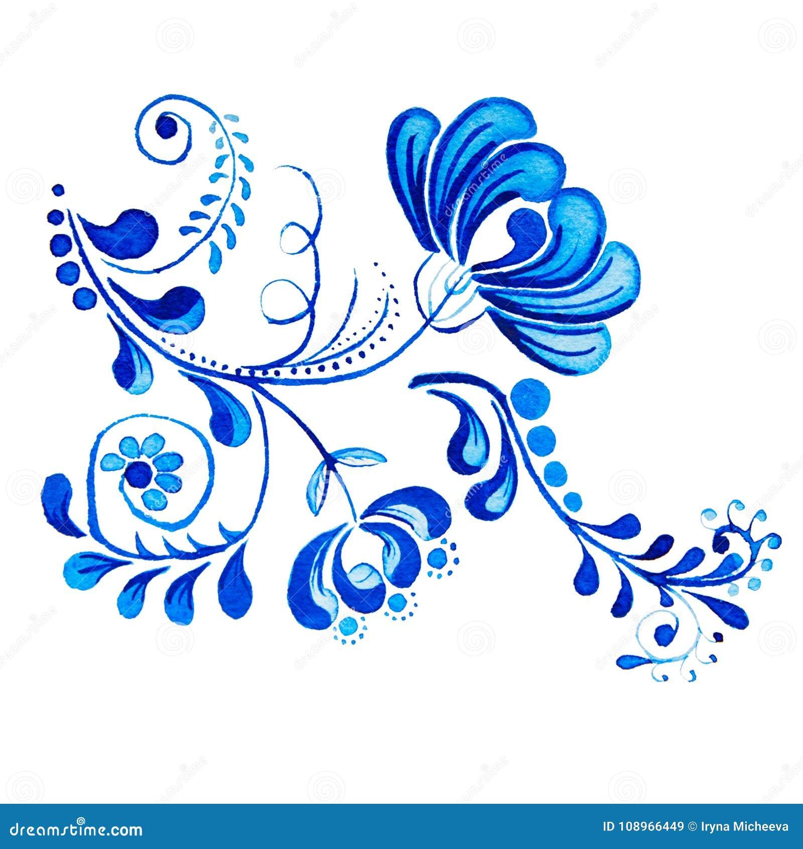 Gzhel Isolerade blåttblomma och filialer för vattenfärg teckning Ryska traditioner, blom- beståndsdel