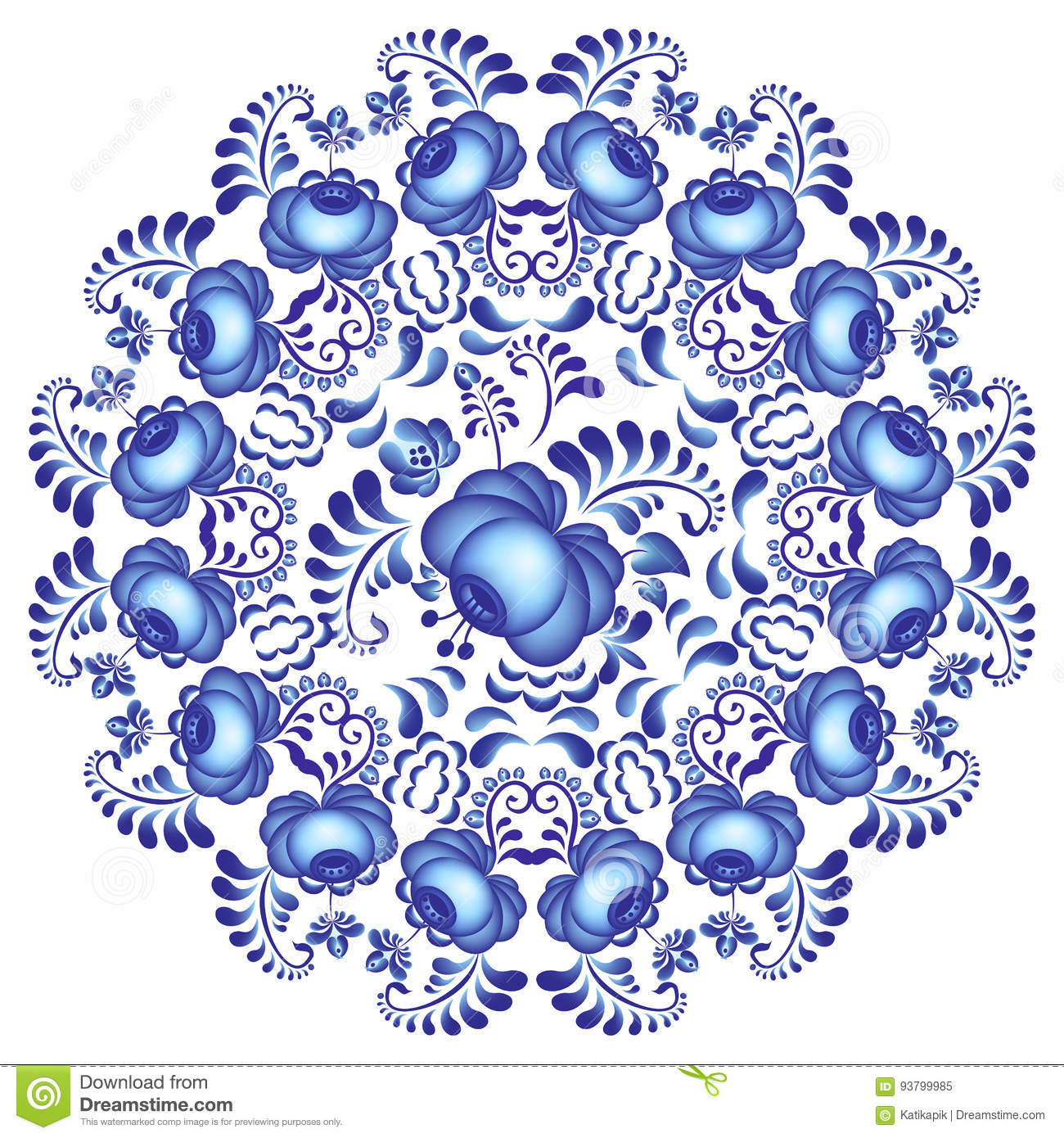 Artistic floral element abstract gzhel folk art blue flowers stock - Blue Design Element Flower Gzhel
