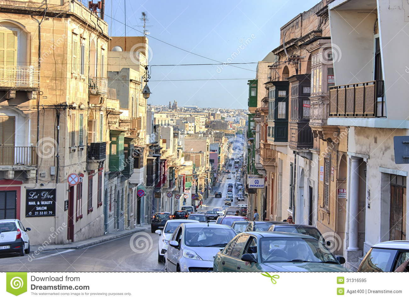 Gzira Malta Old City Central Street At Sunny Day