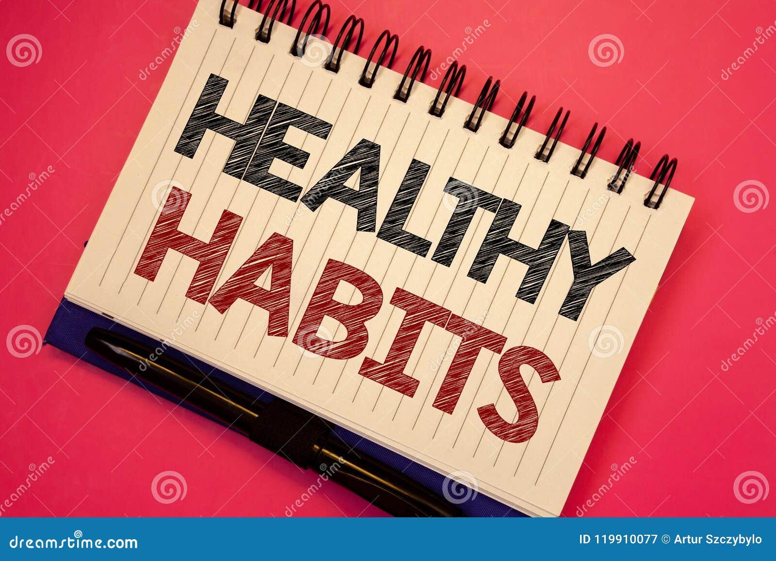 Hábitos sanos del texto de la escritura de la palabra El concepto del negocio para la buena dieta de la nutrición toma a cuidado