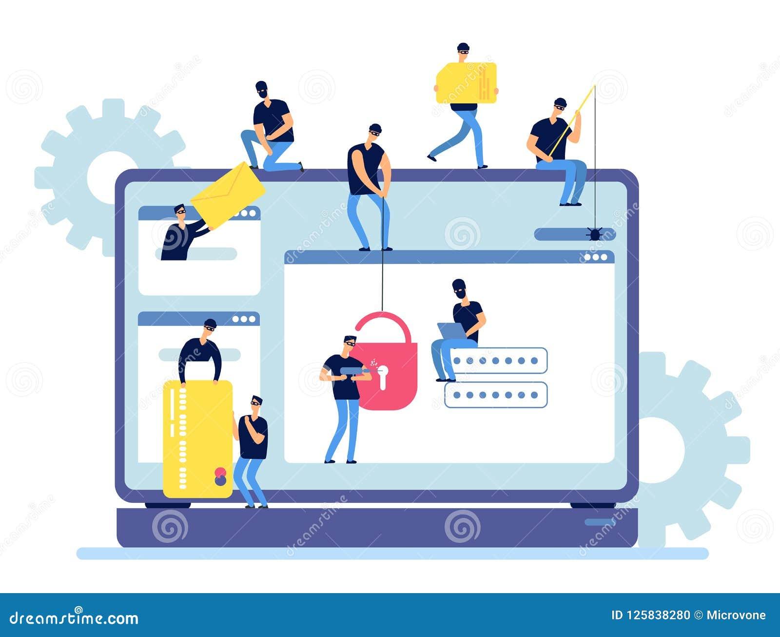 Häcker stehlen Informationen Cyberkriminellerkerbenpersonendaten vom Computer Netzsicherheit und Hackerinternet-Tätigkeit