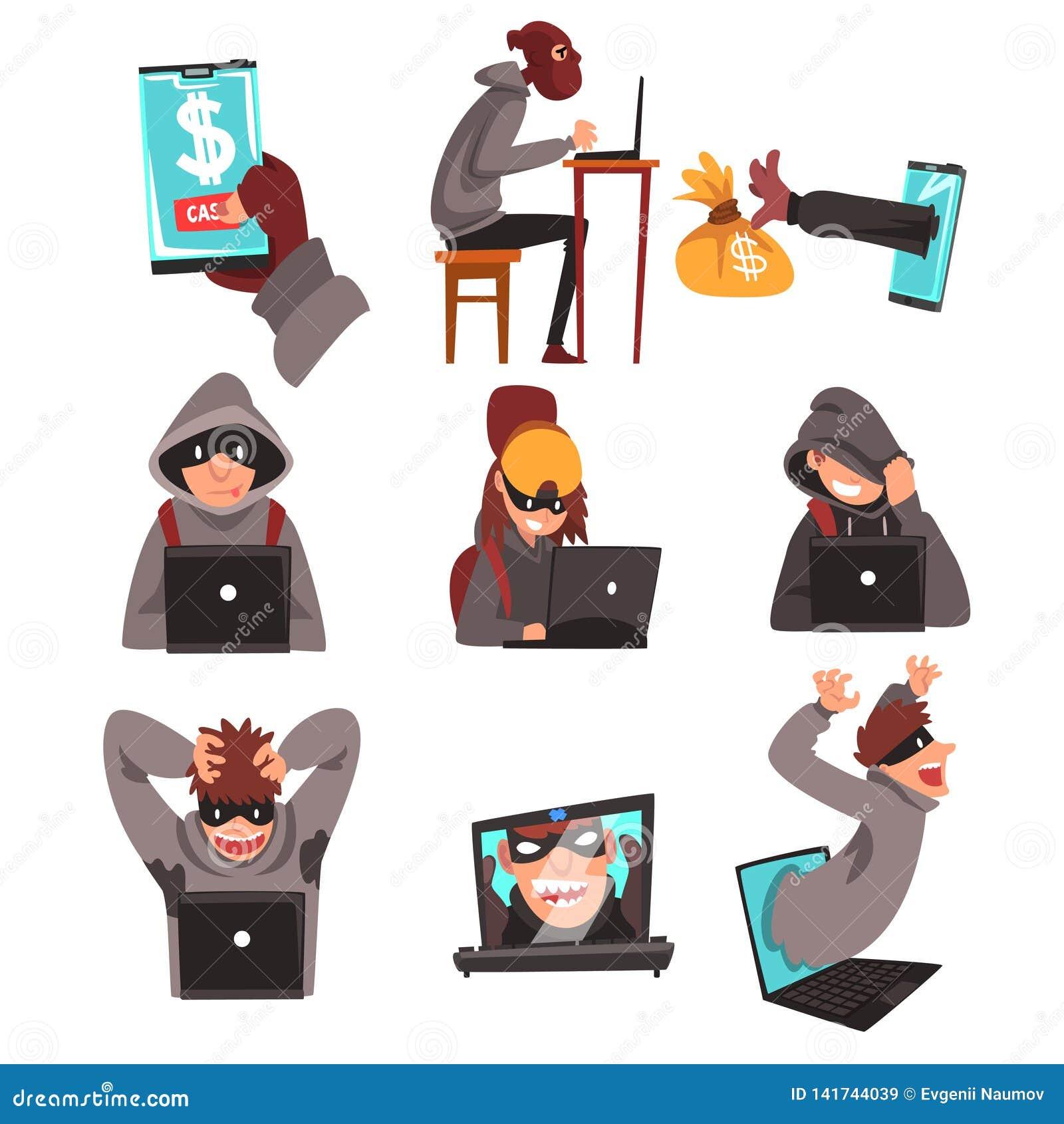 Häcker verkleiden herein den Diebstahl von Informationen und von Geld unter Verwendung des Laptop-Satzes, Internet-Verbrechen, Co