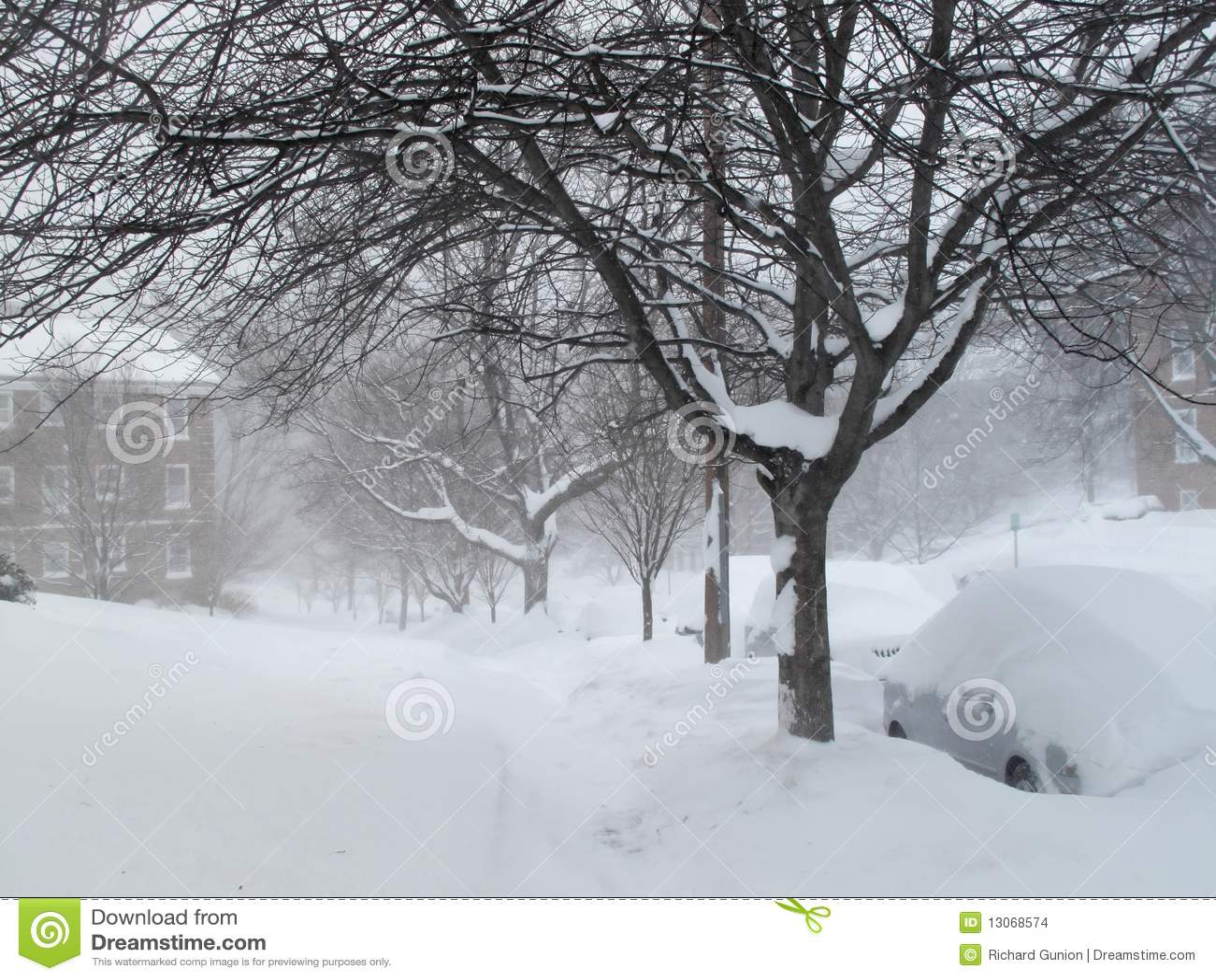 Häftig snöstormgrannskaptrottoar