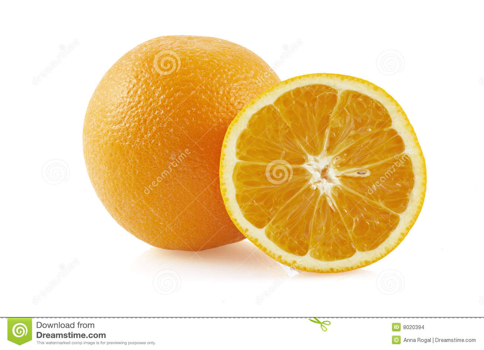 Hälfte von Orange und von der Orange.