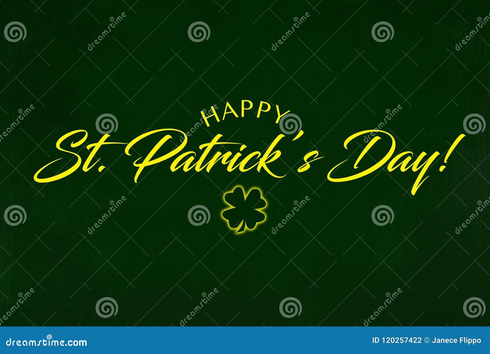 Hälsning för dag för helgonPartrick ` s på en grön bakgrund