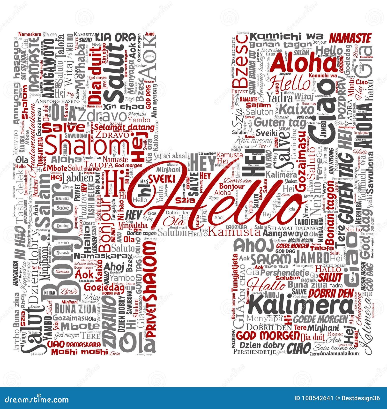 Hälsningar för H för vektorbokstavsstilsort som hälsar internationell turism