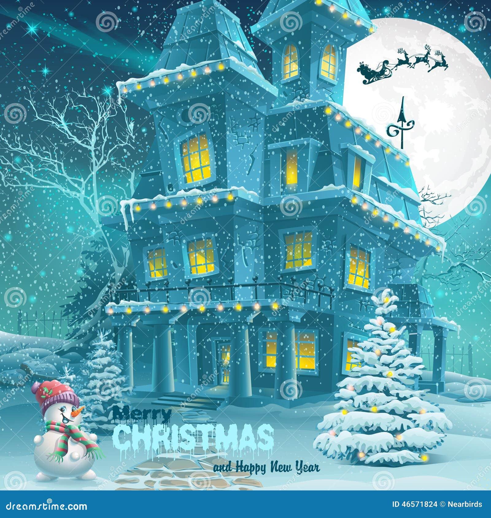 Hälsningkort för jul och för nytt år med bilden av en snöig natt med en snögubbe och julgranar