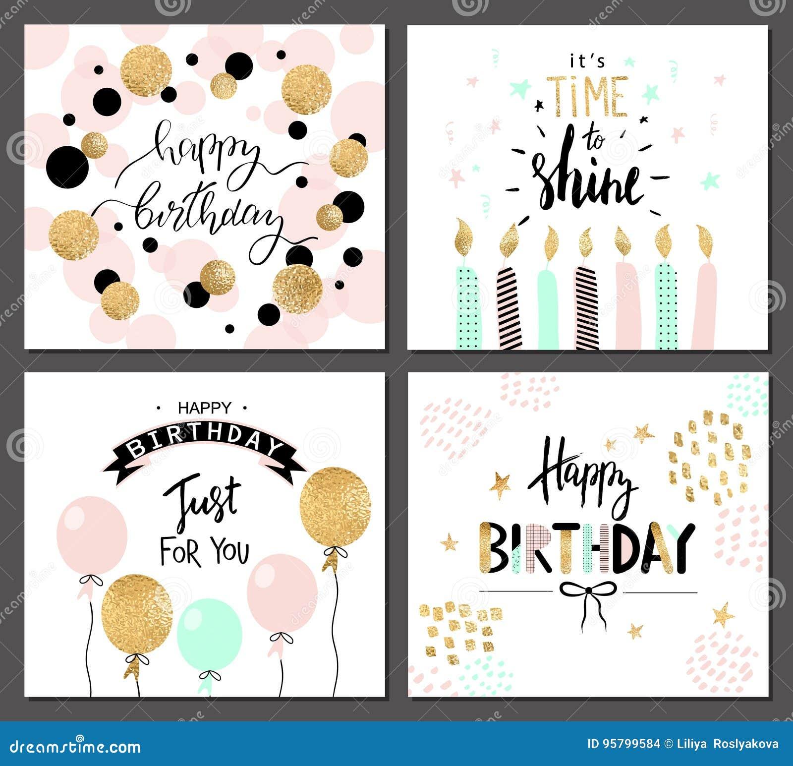 Hälsningkort för lycklig födelsedag och partiinbjudanmallar med bokstäver smsar också vektor för coreldrawillustration Hand drage