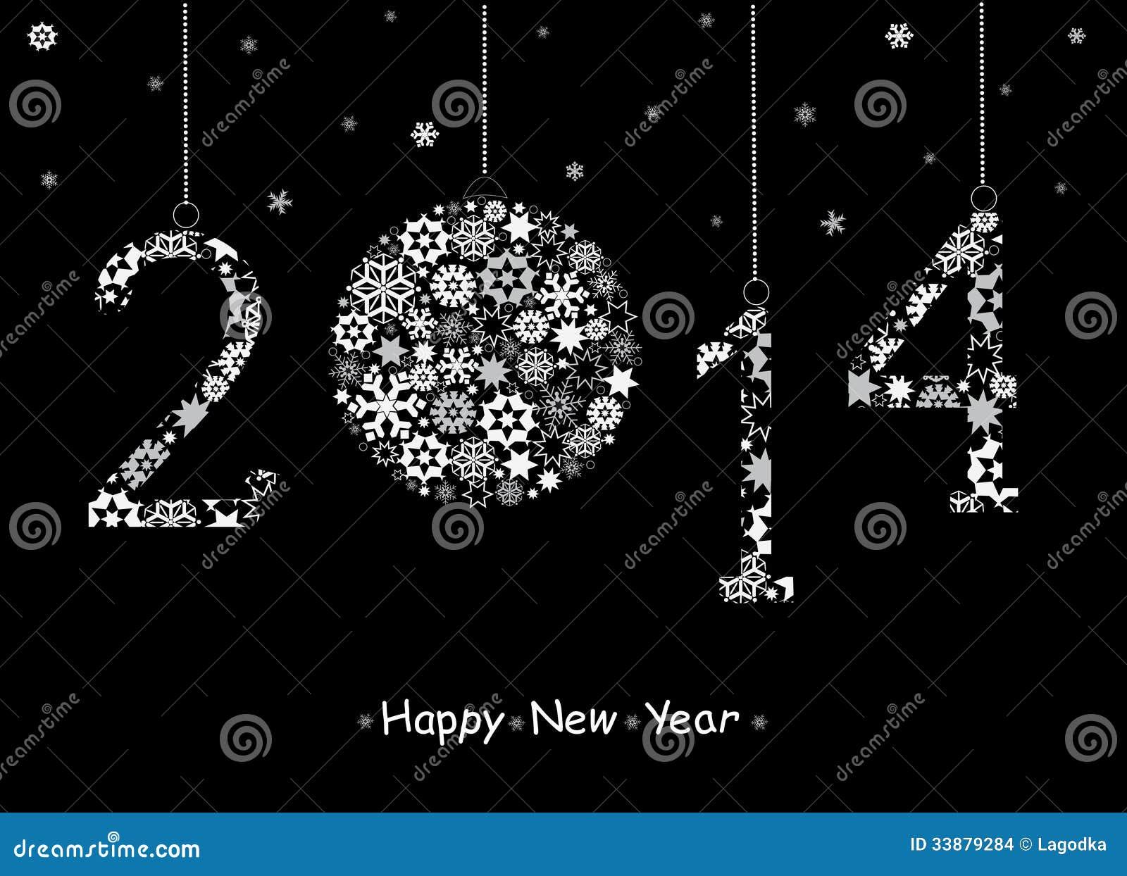 2014 hälsningkort för lyckligt nytt år.