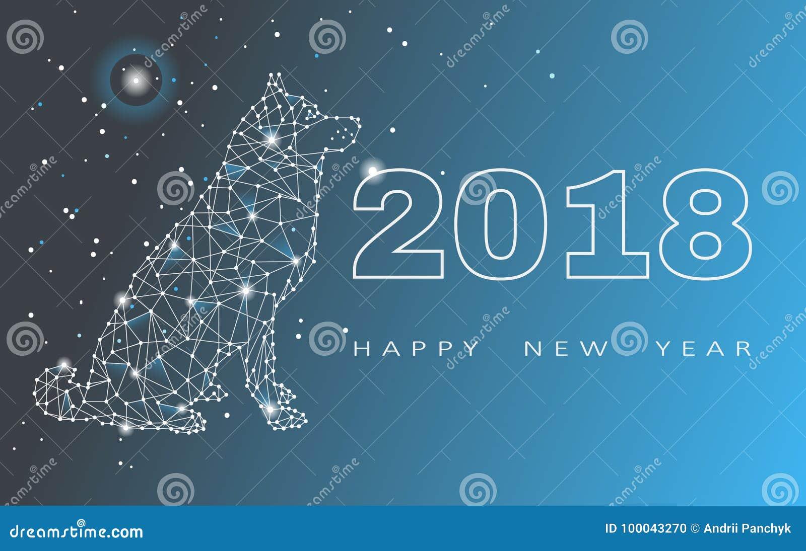 2018 hälsningkort för lyckligt nytt år Beröm med hunden 2018 kinesiska nya år av hunden också vektor för coreldrawillustration