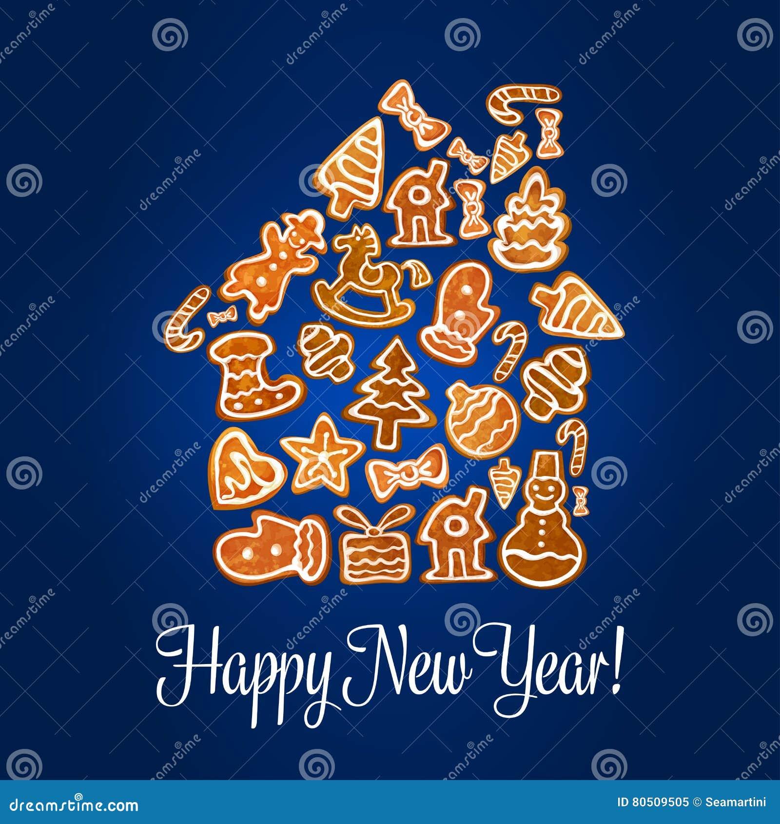 Hälsningkort för nytt år med pepparkakahuset