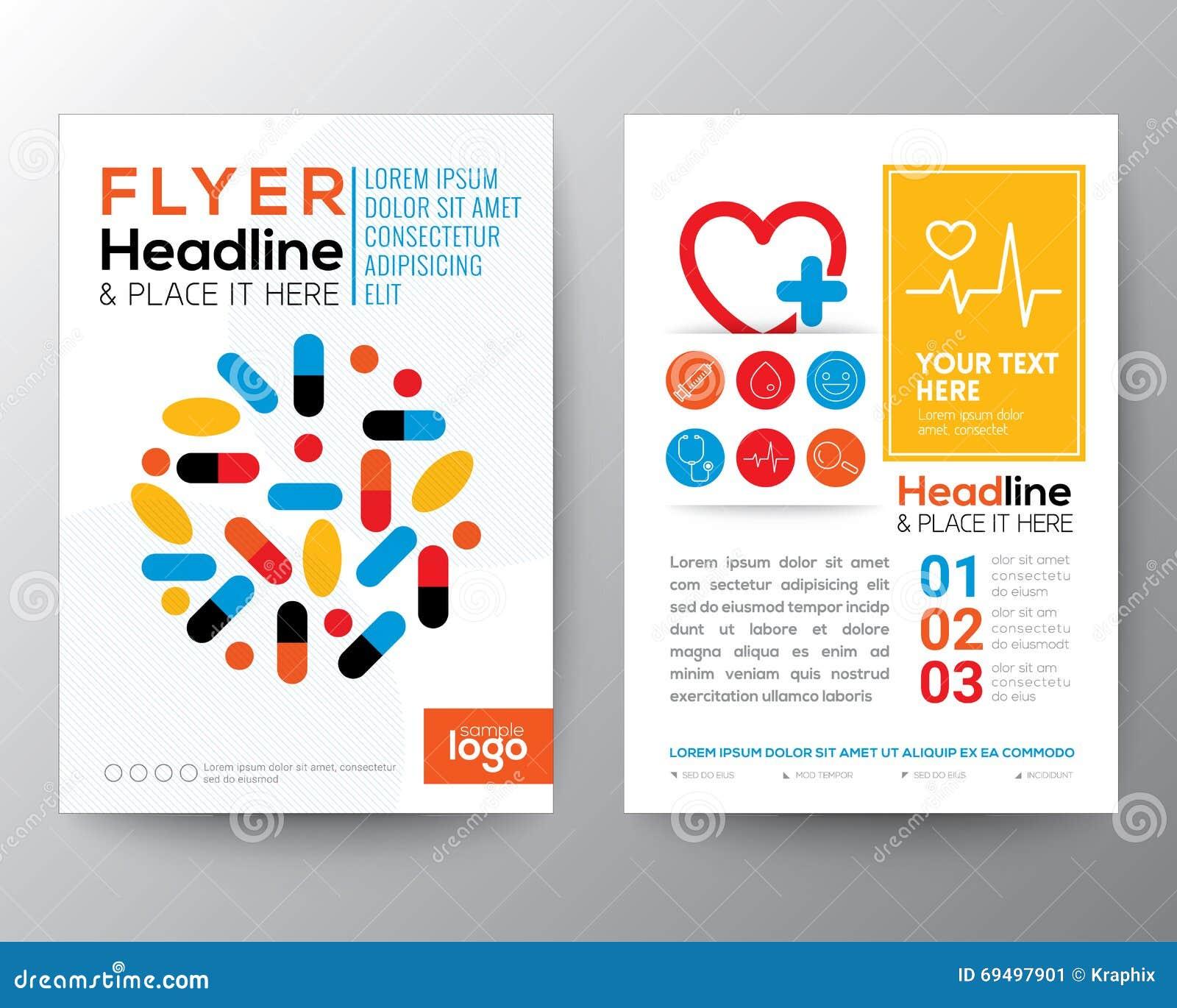 Hälsovård- och för reklamblad för läkarundersökningaffischbroschyr designorientering