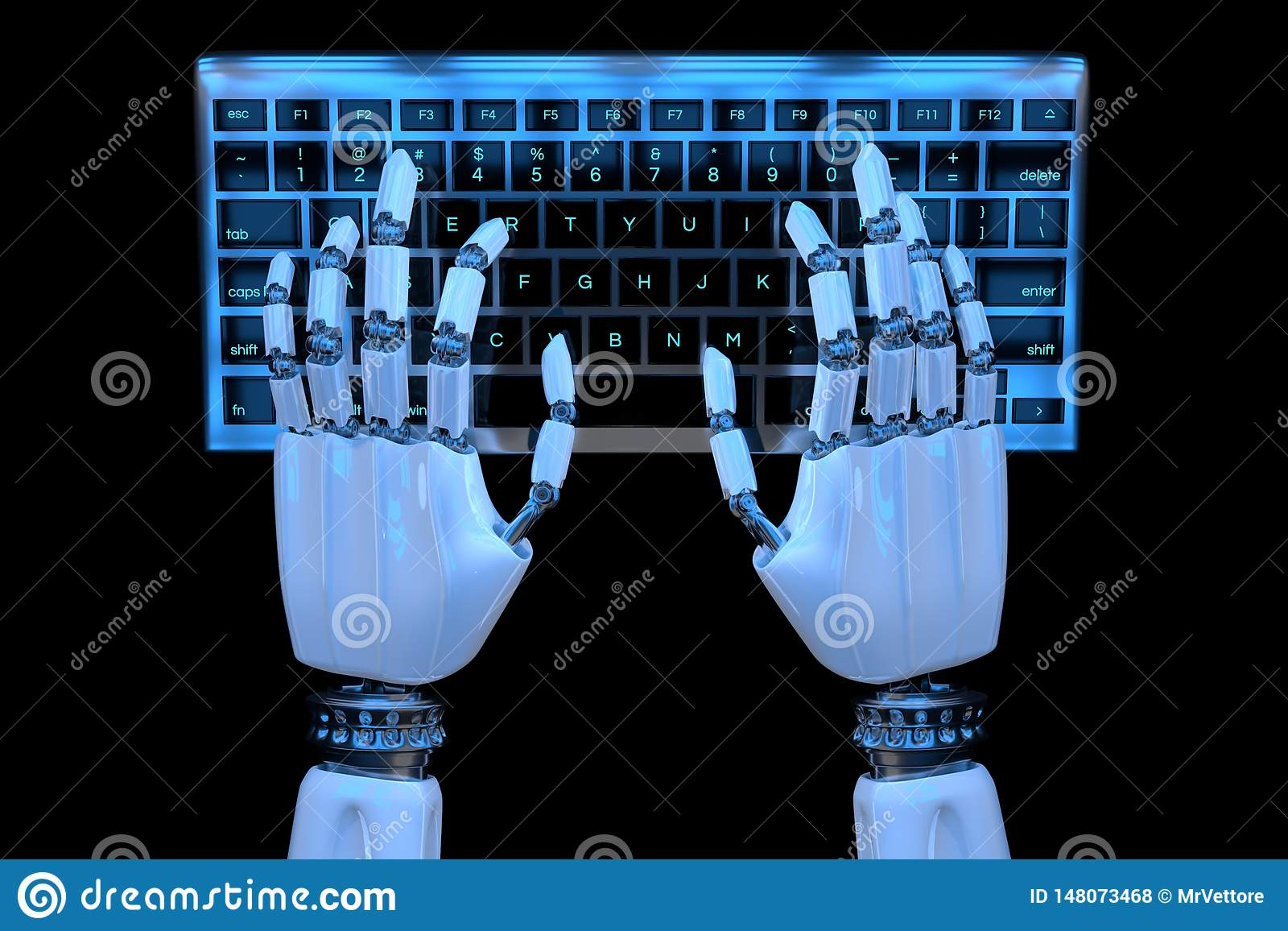 Hände des Roboters 3d, die auf Tastatur, Tastatur schreiben Roboterhandcyborg, der Computer verwendet 3D ?bertragen realistische