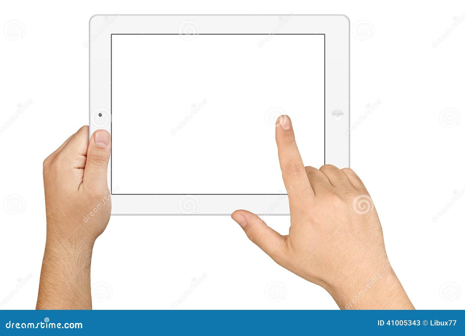 Hände, die Arbeitstablet-PC des leeren Bildschirms halten
