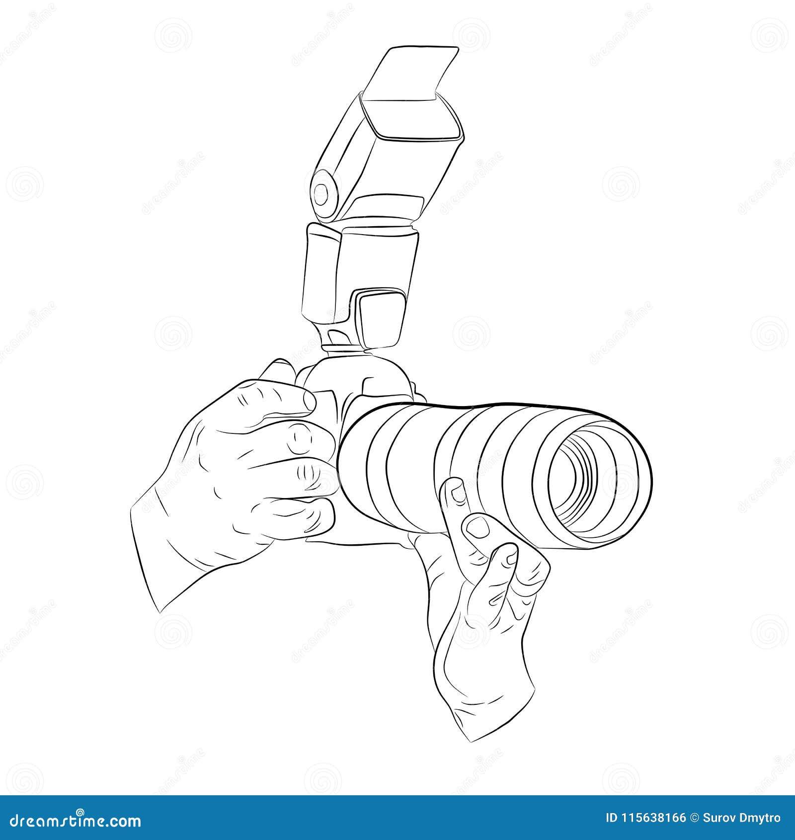 Hände, die auf Kameravektor-Zeichnungsillustration schießen