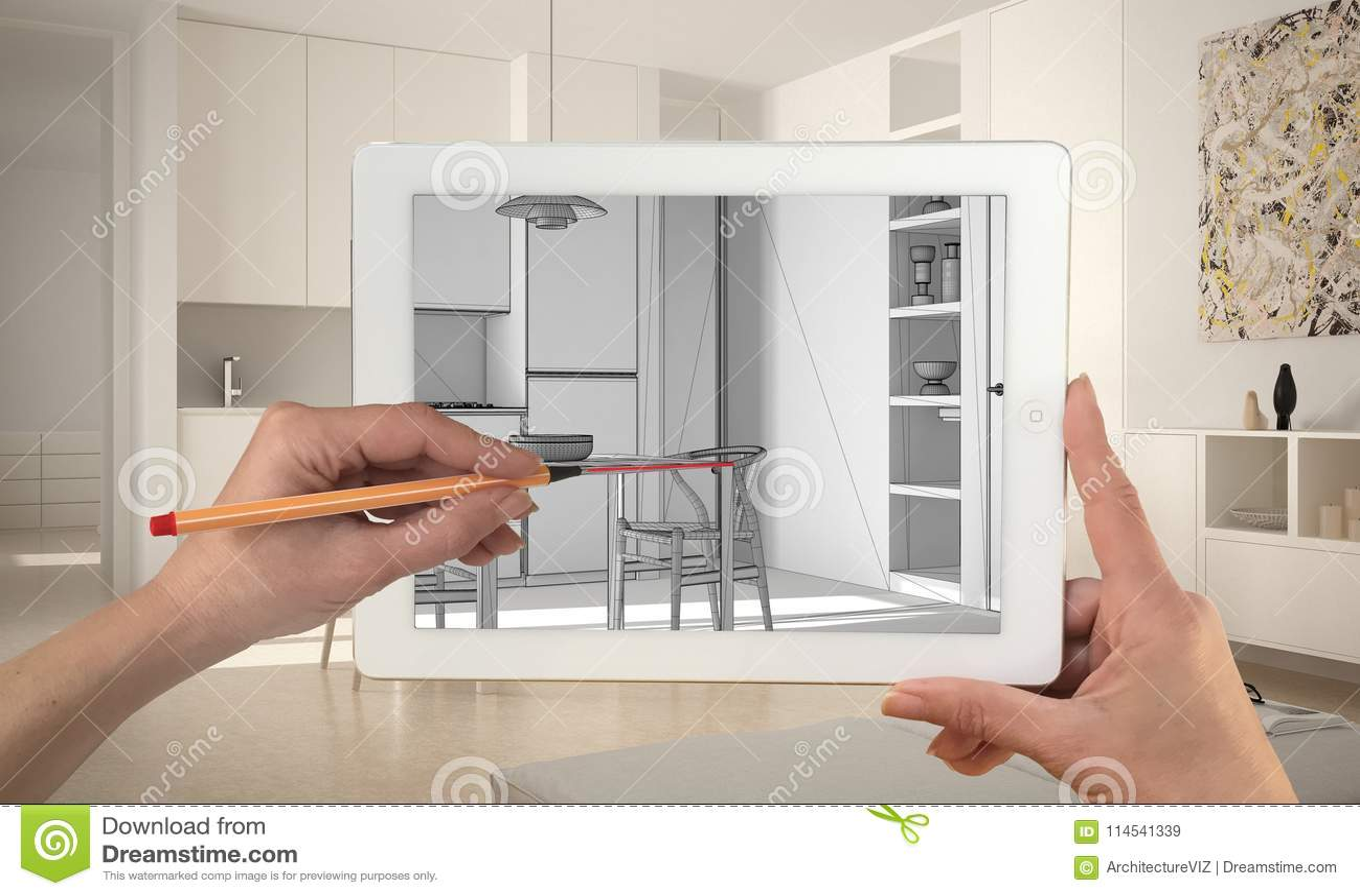 Hande Die Auf Die Tablette Zeigt Moderne Kuche Cad Skizze Halten