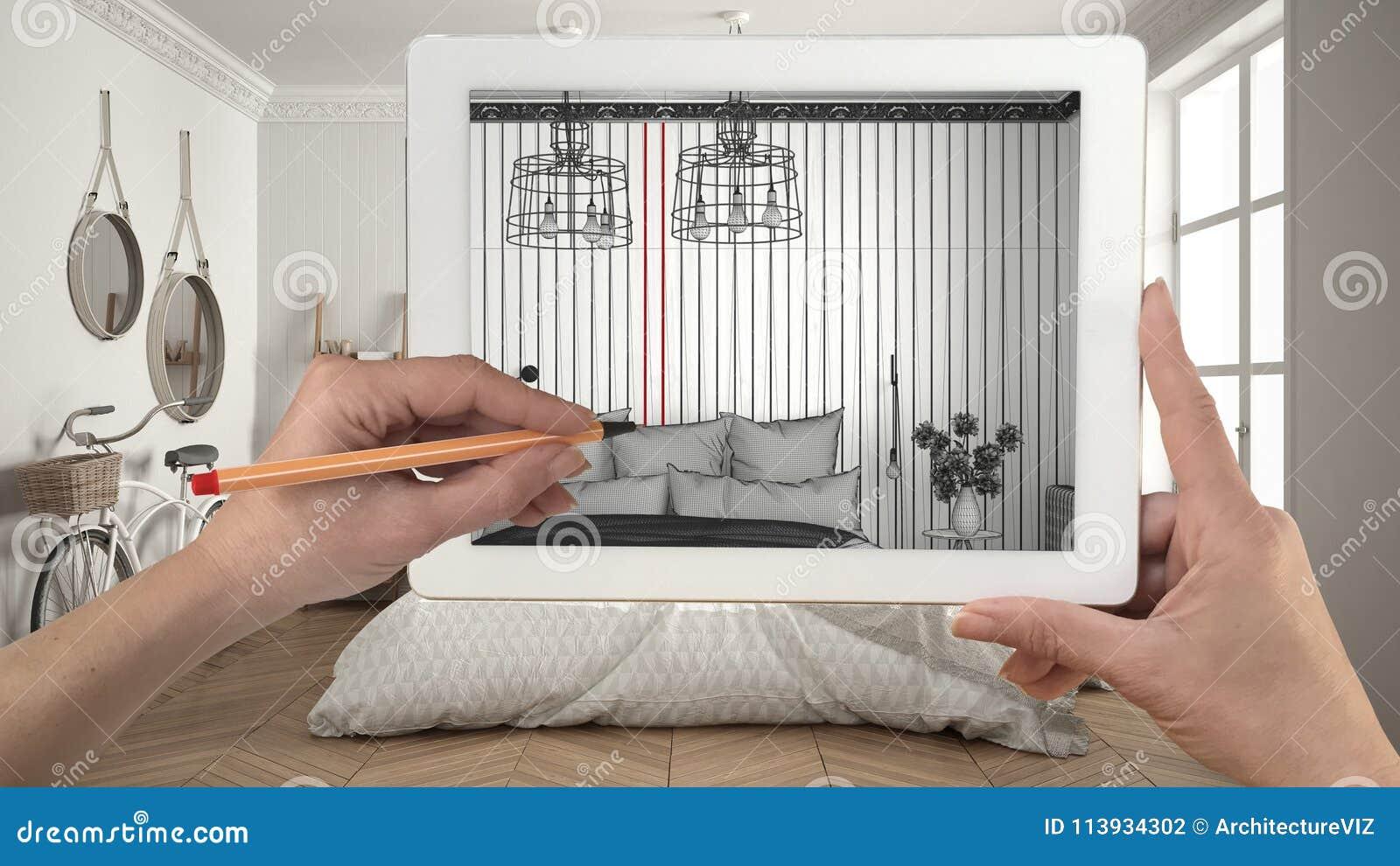 Hände, Die Auf Die Tablette Zeigt Modernes Schlafzimmer Sketc Halten ...