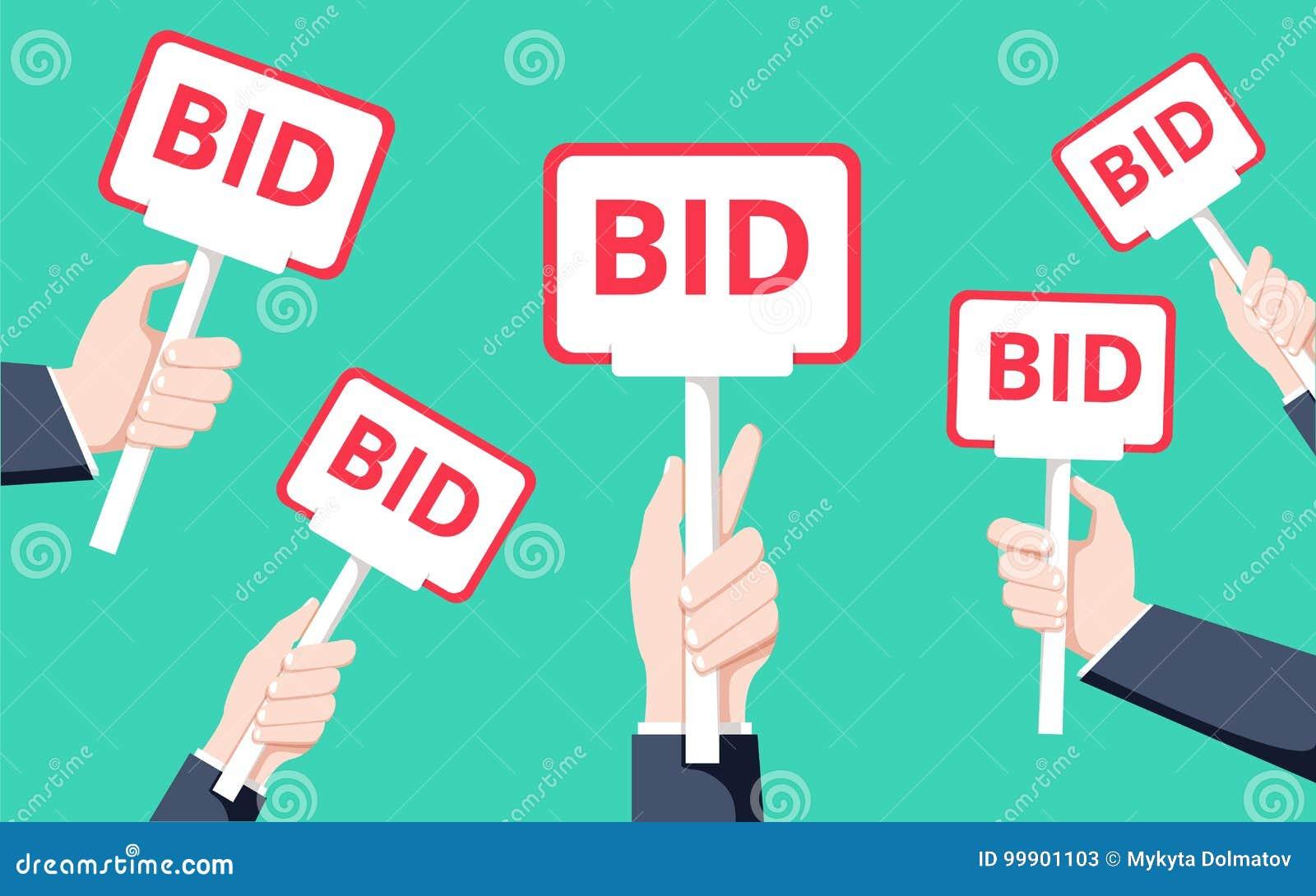 Hände, die Auktionspaddel halten Flache Vektorillustration Auktion und bieten Konzept Verkaufs-Prozess