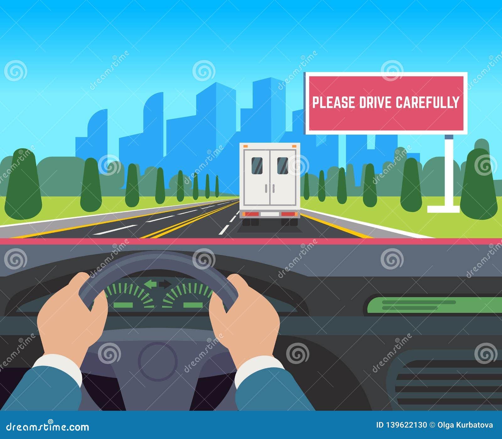 Hände, die Auto fahren Auto innerhalb der Armaturenbrettfahrer-Geschwindigkeitsstraße, die flache Illustration der Straßenverkehr