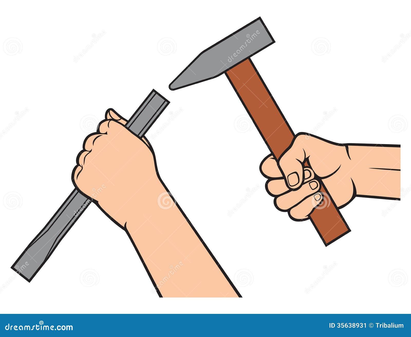 h nde die einen hammer und einen mei el halten stockbild bild 35638931. Black Bedroom Furniture Sets. Home Design Ideas