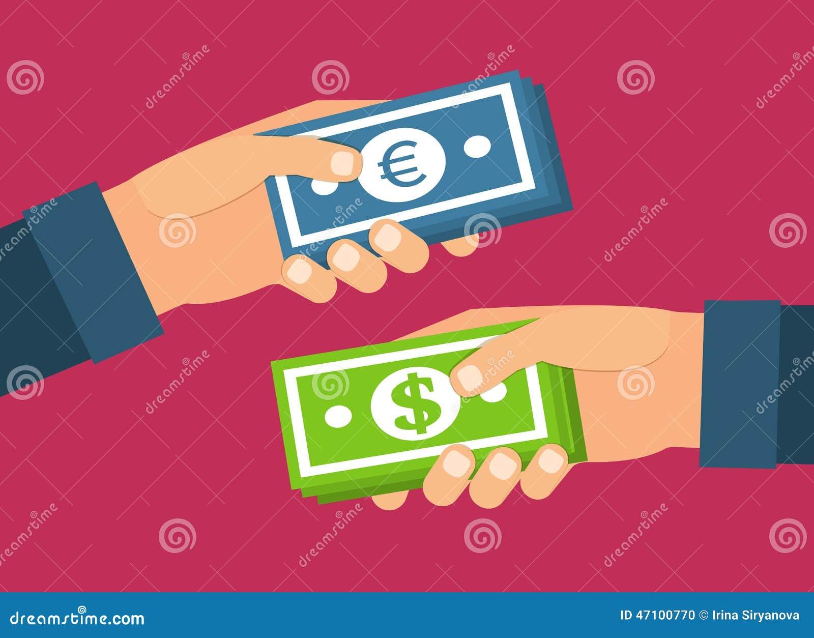 Hände, die Geld anhalten Geldumtausch, Übertragung