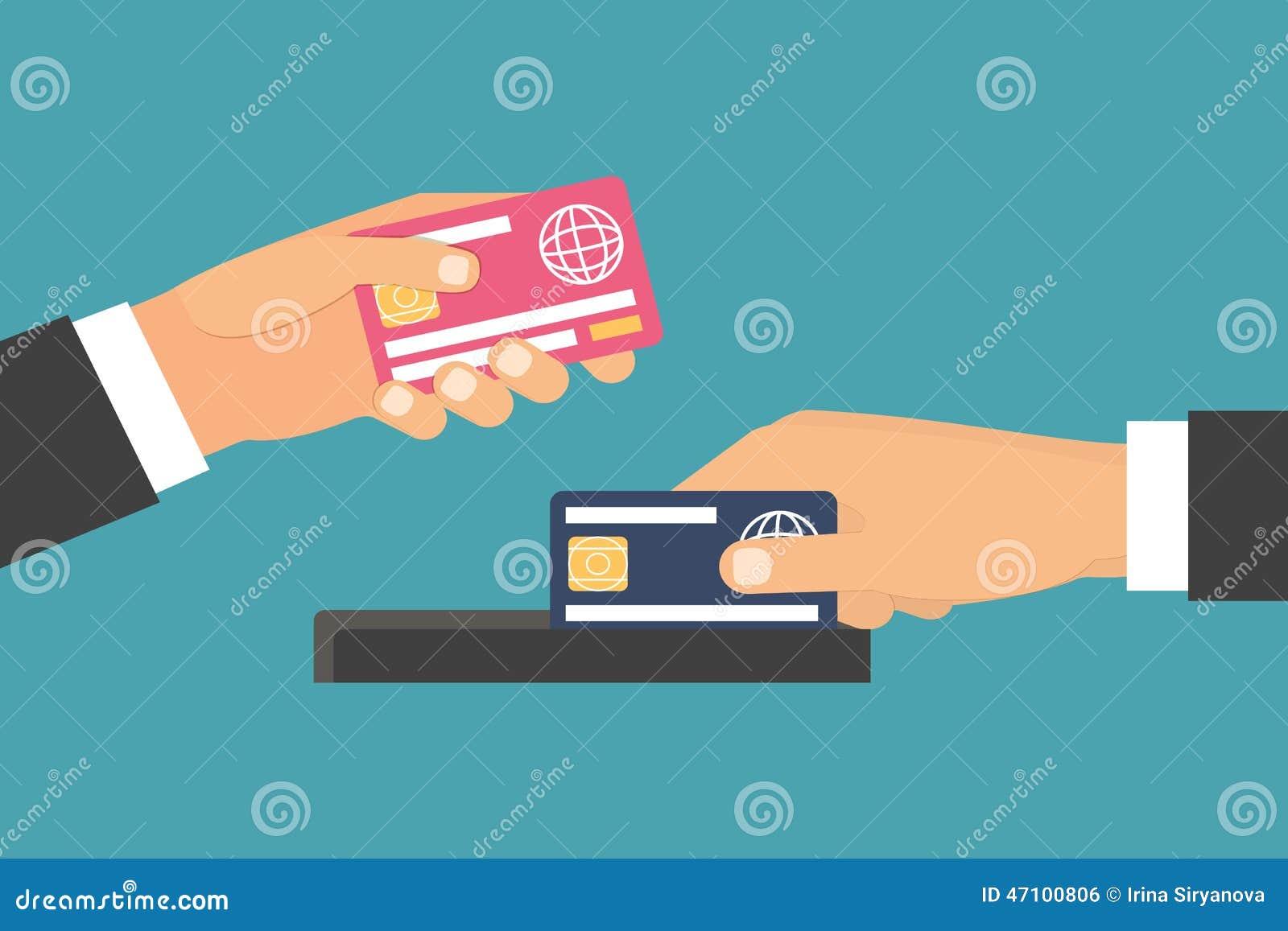 Hände, die Geld, Plastikkarte halten Austausch,